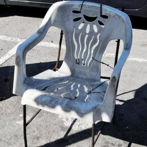 Monobloc plastic chairs + metal bar chairs
